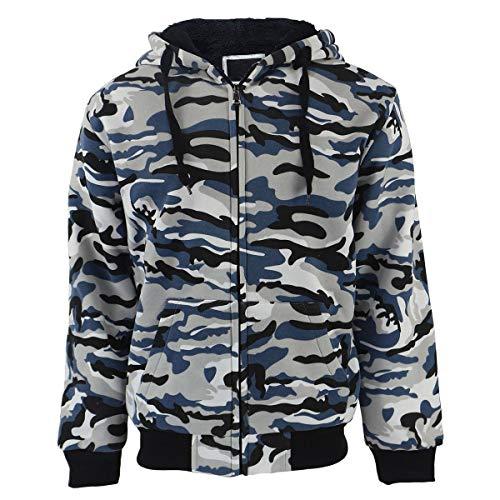SwissWell Herren Camouflage Kapuzenjacke Sweatjacke Hoodie Jacke Pullover Mit Kapuze Reißverschluss Und Fleece-Innenseite Outdoor Hell Grau EU-L