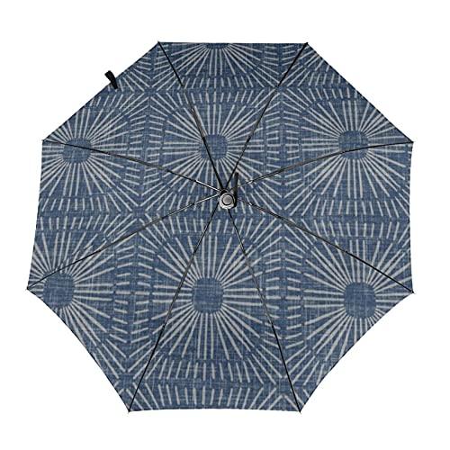 自動折りたたみ傘サンバーストネイビー防風、防水、耐紫外線性があり、晴れや雨の日に適していますユニセックス。