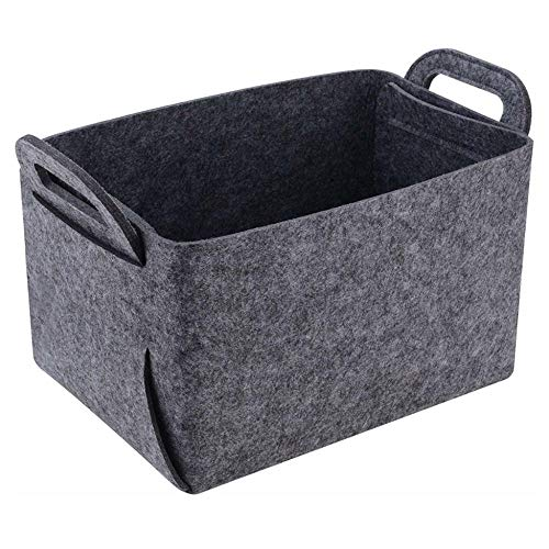Foldable Felt Storage Basket Bin Organizer Foldable Open Storage Boxes Shelf Baskets with Handles for Laundry Clothing, Magazine, Toys-XL