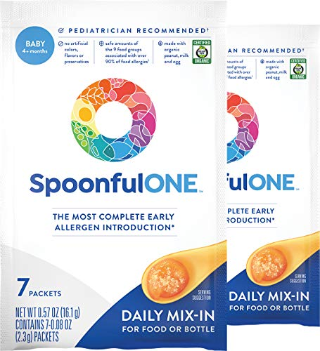 SpoonfulONE Food Allergen Introduction Mix-Ins | Smart Feeding for an Infant or Baby 4+ Months | Certified Organic (14 Packets)