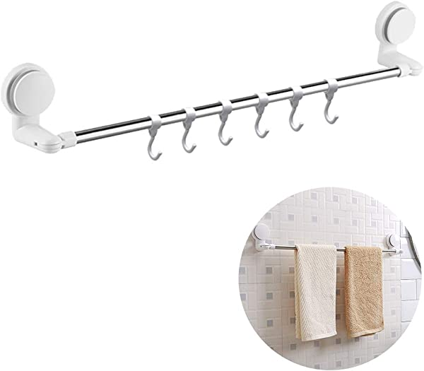 Coitak Self Adhesive Towel Bar Holder For Bathroom Kitchen Walls Cabinets Above Counters Adjustable Length 15 7 27 5 Brushed Stainless Steel 6PCS Hook