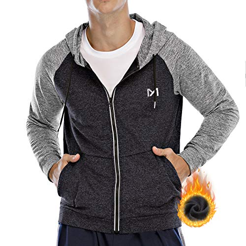 Men's Fleece Hoodie Jacket, Full Zip Thermal Jacket Hooded Sweatshirt, Long Sleeve Shirts Workout Sports Running Hiking