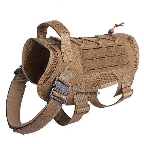 Puppy vestMilitaire Dog Training Vest Verstelbare Army Tactical Dog Vest Harness Schieten Jacht Service Hondenkleding Vesten Hondenriem-bruin vest_M (15-30KG)