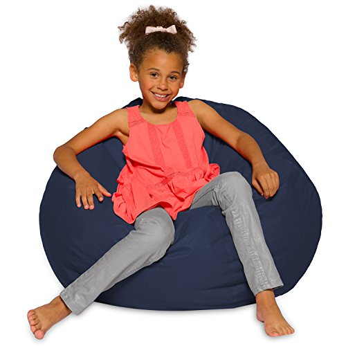 Big Comfy Bean Bag Chair: Posh Large Beanbag Chairs for Kids, Teens and Adults - Polyester Cloth Puff Sack Lounger Furniture for All Ages - 27 Inch - Solid Navy Blue