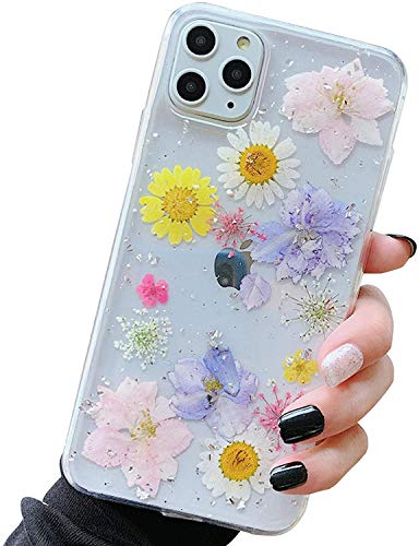 iPhone Flower Case,iPhone 12 Pro Max case,Bling Glitter Clear Rubber Pressed Dry Real Flowers Case Girls Glitter Floral Cover for iPhone 12 Pro Max(6.7')2020 (Blend Colors)