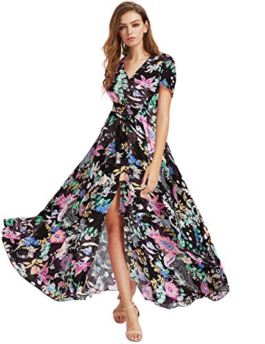Milumia Women's Button up Split Floral Print Flowy Party Maxi Dress X-Large Black_Pink