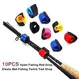 Jannyshop 10 PCS Ceintures de Canne à pêche Attache de câble Sangle Nylon pour la pêche (Couleur aléatoire)