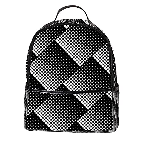 KAMEARI Zaino Mezzitono Design in Bianco e Nero Modello a Pois Casual Daypack per Viaggi con Tasche Laterali Bottiglia