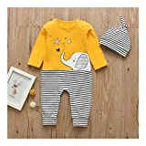 LiuQ Baby Strampler 2ST Neugeborenes Baby-Mädchen-Cartoon-Elefant-Print Romper Langarm-Overall Hat Säuglings-Kleidung Set Kleinkind-Kleidung Outfits (Color : 6M)