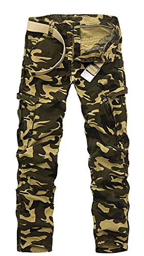 DMDMJY Casual Pantalones Militares Trabajo Táctico Hombres Al Aire Libre Pantalones Rip-Stop Camo Del Cargo Con Múltiples Bolsillos,C,38