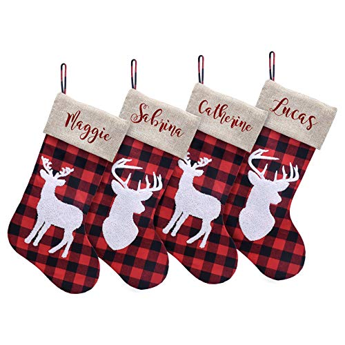 Caraknots Personalized Christmas Stockings Set of 4 Large Burlap Plaid Custom Monogram Christmas Stockings Snowflake Reindeer Home Party Decoration Xmas Holiday Fireplace for Family