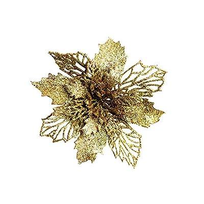 Christmas Decorations, 5Pcs Christmas Tree Ornaments Christmas Simulation Flower Xmas Ornament,Pendants Xmas Tree Ornaments Home Hanging Decor (Gold)