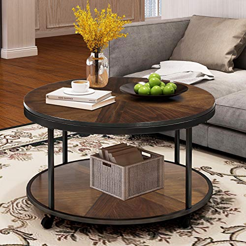 Coffee Table with 4 Casters Unique Textured Surface Round Coffee Table for Living Room