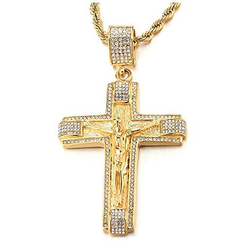 COOLSTEELANDBEYOND Grande Oro Collana con Pendente Gesù Cristo Crocifisso Croce con Zirconi, Uomo Donna Ciondolo Croce, Acciaio Inossidabile, Catena Corda 75CM