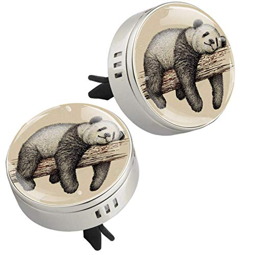 Essential Oil Diffuser for Car with Vent Clip,Panda Sleep Tree Art Paint Aromatherapy Diffuser 2 Pcs