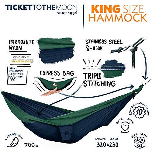 Ticket to the Moon Fair Trade & handgemachte King Size 1-2-Personen- Leicht-Hängematte Navy Blue- Dark Green für Reisen, Camping und Alltag, 3,2 * 2,3m, 700g, Oeko-TEX, 10J. Garantie