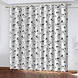 FOssIqU dormitorio 3D cortina de aislamiento 90x90inch Perro animal blanco y negro Aislamiento acústico y prevención de ruido con cortinas de dormitorio perforadas, cortinas de decoración del hogar, 2
