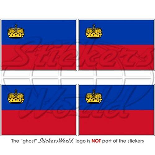 Liechtenstein Drapeau national 5,1 cm (50 mm) bumper-helmet en vinyle autocollants, Stickers x4