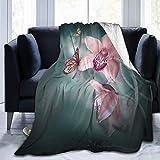 JOOCAR Mantas y mantas de franela manta para/sofá/cama manta de felpa orquídea flor con mariposa primavera naturaleza felpa mullida manta regalo para bebé niña niño papá mamá