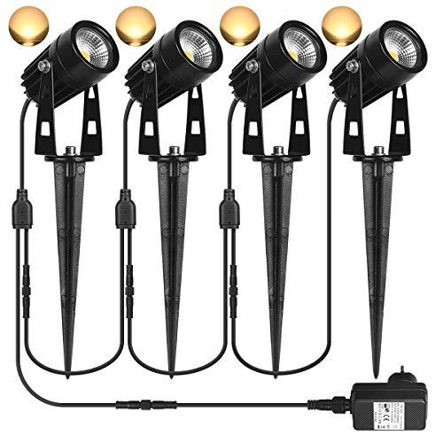 Gartenbeleuchtung SanGlory 4er Set Gartenleuchte mit Erdspieß, 3W LED Gartenstrahler mit Stecker, IP65 Wasserdicht Gartenleuchten mit Kabel, 1440 Lumen Wegbeleuchtung Gartenlampe Warmweiß für Außen