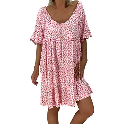LOPILY Frauen Große Größen Blumenmuster Kleider Boho Stil Übergröße Swing Sommerkleider Blumendruck Knielang Kleid Kurzarm Kleid Tunika Kleid (Rosa, DE-52/CN-5XL)