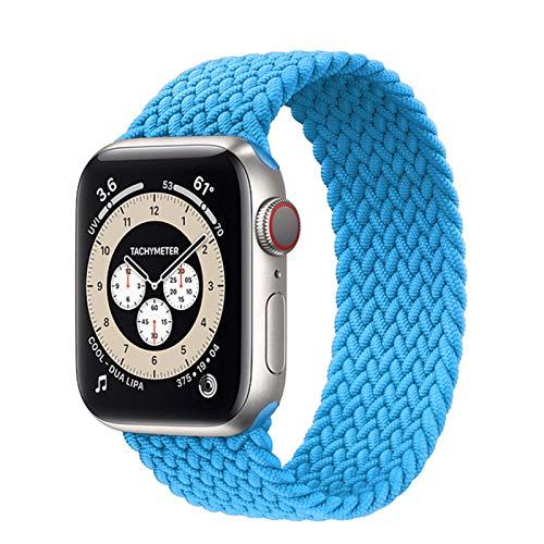 GZMYDF 2021 geflochtene Solo Schlaufe für Apple Watch Band 44 mm 40 mm 42 mm 38 mm Stoff Nylon Elastic Gürtel Armband Watch Series 3 4 5 SE 6 Band (Bandfarbe: 1 Atlantic Blue, Größe: L 38-40 mm)