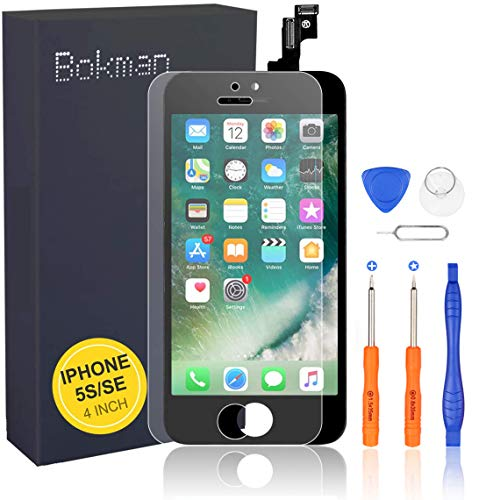 bokman för iPhone 5s/SE svart skärm reservdelar display montering frontpanel