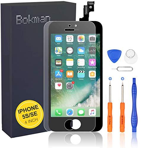 bokman LCD Pantalla para iPhone 5s/SE, Táctil LCD Reemplazo con Herramientas de Reparación(Negro)