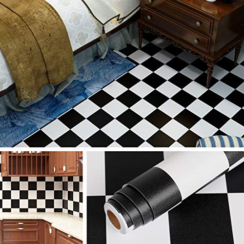 Livelynine Klebefolie Muster Selbstklebende Tapete Schwarz Weiss Folie für Möbel Wand Tisch Rückwand Fliesenaufkleber Küche Klebefliesen 40CMx2M PVC Bodenbelag Kinderzimmer Schlafzimmer Bad Boden