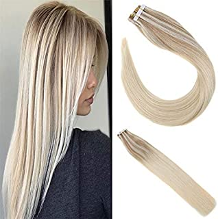 Sunny Tape in Human Hair Extensions 14 inch Tape in Balayage Hair Extensions Human Hair Seamless skin weft Ash Blonde Mix Platinum Blonde Blonde Tape in Hair Extensions 20 pcs/50g