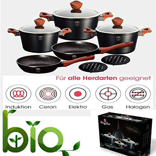 Herzog Aluguss Kochtopf 10.TLG Set Topf | Kochtopfset Mit 2 Pfannen  | Topf-Set  Antihaft  |Antihaft-Marmorbeschichtung  | Kochgeschirr Induktion Spülmaschinenfest