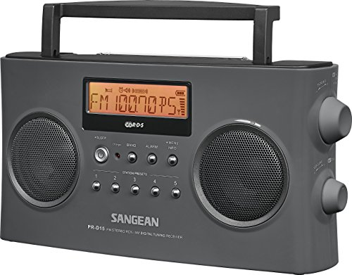 Sangean PR-D15 FM-Stereo/AM Rechargeable Portable Radio with Handle (Gray) (Renewed)
