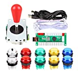 EG STARTS 1 Player LED Arcade DIY Part Kit USB Encoder to PC Gamepads Ellipse & Oval Style Bat Joystick + 5V LED Arcade Buttons for Video Games Mame Raspberry Pi Arcade1up (Clear Mix Colors)