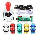 EG Starts Zero Delay codificador USB Para PC Games Red Joystick + 10x botones de mando luminoso LED para el Arcade Joystick DIY kits de piezas Mame Frambuesa Pi 2 3 3B