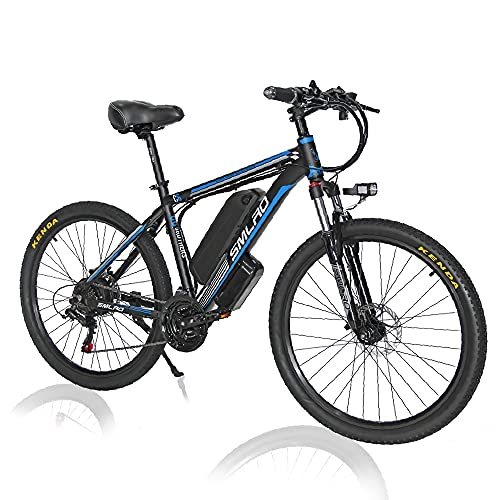 1000W Elektrofahrrad 26Zoll E-Bike Mountainbike, Abnehmbare 48V/13Ah Batterie /21-Gang-Getriebe/Höchstgeschwindigkeit 45km/h/Kilometerstand Aufladen Bis zu 80-110km,Blue