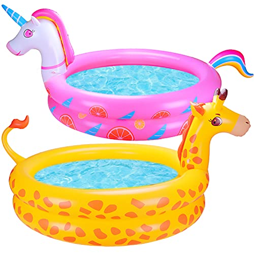 2 PCS Inflatable Kiddie Pool 48quotX13quot 1 Unicorn Giraffe Kid Pool for Backyard Toys Baby Ball Pit Pool Toddler Swimming Pool for Kids Adults Outdoor Outside Summer Toys Water Play Center Gift Boys Girls