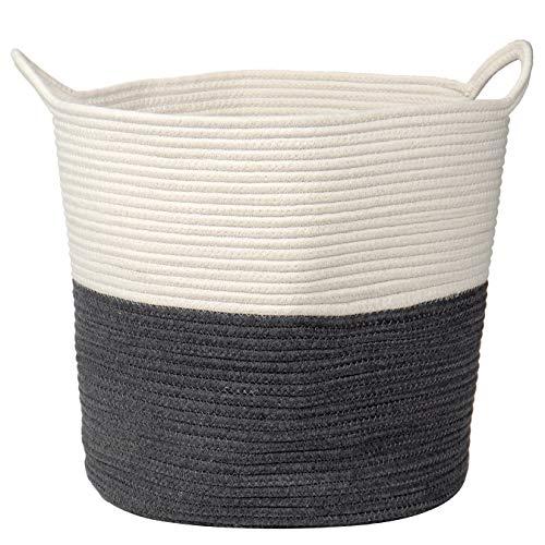 Cesto para la ropa sucia de algodón, cuerda trenzada, cesta de almacenamiento para juguetes de bebé, con asa, para salón, habitación de los niños, cuarto de baño, 38 x 38 cm