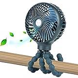 Mini Handheld Personal Portable Fan, Baby Stroller Fan, Car Seat Fan, Desk Fan, with Flexible Tripod Fix on Stroller Student Bed Bike Crib Car Rides, USB or Battery Powered (Dark Blue)