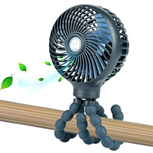 Mini Handheld Personal Portable Fan, Baby Stroller Fan, Car Seat Fan, Desk Fan, with Flexible Tripod Fix on Stroller Student Bed Bike Crib Car Rides, USB or Battery Powered (Dark Blue)