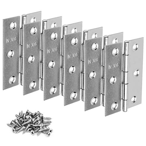 6PCS Hinges, 3 Inch Hinges and Latches for Wood Boxes,- Brushed Nickel Door Hinges, Commercial Grade Stainless Steel Hinges, Thickened Closet Door Hinge with, with 36 Mounting Screws
