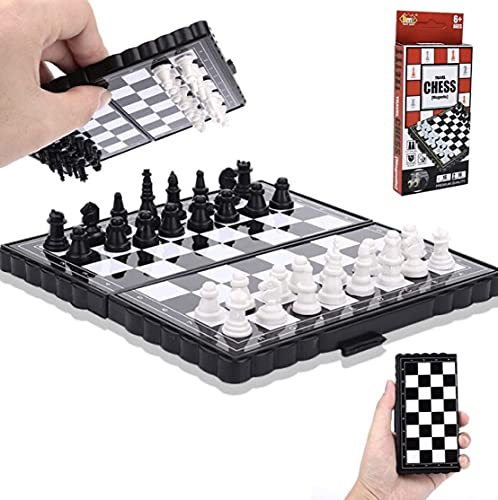 PayTag® Mini Foldable Pocket Size Magnetic Travel Chess Set Board Game for Kids and Adults(Pocket Chess) (Pocket Chess)