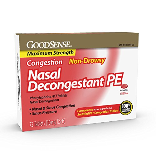 GoodSense Maximum Strength Nasal Decongestant PE, Phenylephrine HCl 10 mg, Sinus Congestion Relief; Relieves Nasal Congestion Due to Hay Fever, Common Cold and Upper Respiratory Allergies, 72 Count