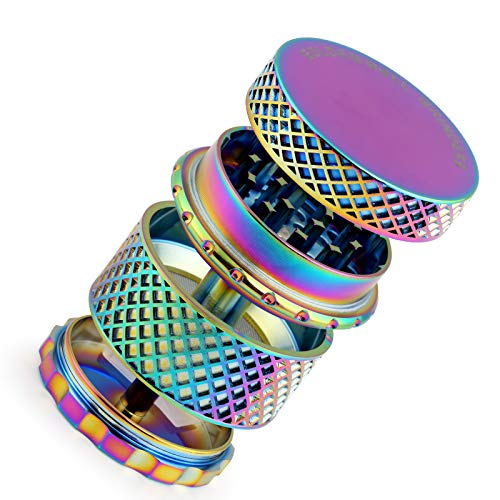 Golden Bell 2 inch 4 Piece Spice Herb Grinder Reticulate Pattern Thread-Less Design Grinders- Rainbow Color