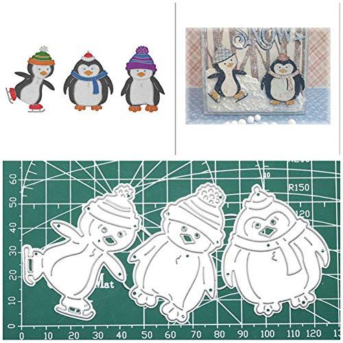 tailor13me 3 Stück Pinguin Stanzschablone Stanzform, Metall Stanzbögen Stanze Stanzrahmen Schablone zur Scrapbooking Karten Tischkarten Geburtstag Silber