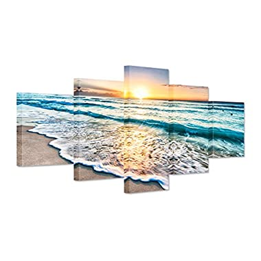 Hello Artwork - Canvas Art Prints Blue Sea Sunset White Beach Painting The Picture Print On Canvas Beach Seascape In Cancun Mexico Wall Art Framed for Living Room (5Panel)