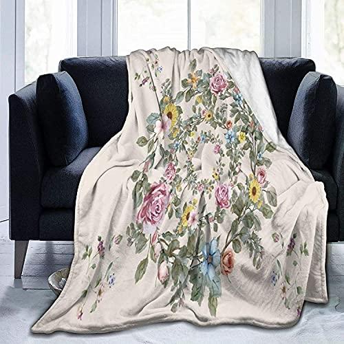 Manta de Forro Polar con Guirnalda Vintage, Manta de Micropolar Ultra Suave para Mantas y Mantas de sofá de Dormitorio, 60 'x 50'