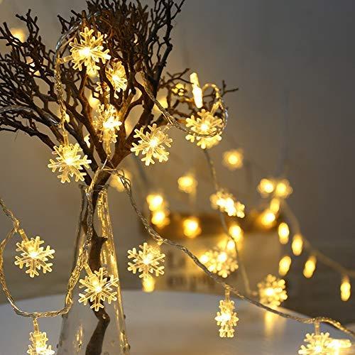 Strisce LED forma di fiocco di neve a 20 LED con luci a LED Luci da stringa a LED da 3M Luci a batteria impermeabili per giardino di Natale Patio Camera da letto Decorazioni Illuminazione