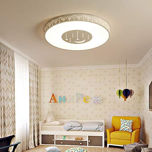 Interieur kleur Ronde slaapkamer de kinderen LED ster maan plafondlamp Tri-Color licht creatief Fun Home Living Room Restaurant Ring Decoration Lamp