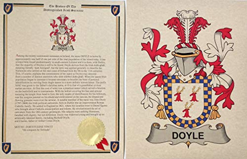Doyle - Coat of Arms and Last Name History - 8.5x11 Print Combo Set