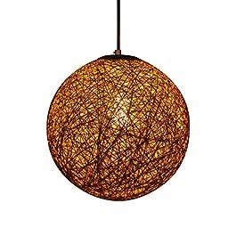 Huahan Haituo Suspension lustre boule sisal Abat-jour Boule Ronde lustre rotin (Beige,28cm)